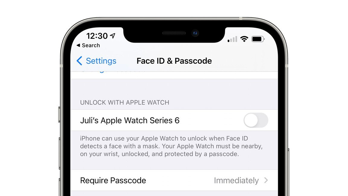 iOS 14.5 позволяет разблокировать iPhone с помощью Apple Watch, если вы в маске
